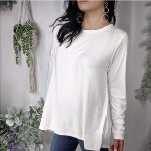 BOBEAU Blouse White Draped Long Sleeve